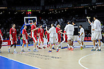 Real Madrid´s players greet Crvena Zvezda Telekom Belgrade´s players during 2014-15 Euroleague match between Real Madrid and Crvena Zvezda Telekom Belgrade at Palacio de los Deportes stadium in Madrid, Spain. February 26, 2015. (ALTERPHOTOS/Luis Fernandez)