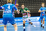 Christos Erifopoulos (FRISCH AUF! Goeppingen #31) ; Elmar Asgeirsson (TVB Stuttgart #4) ; re: Tim Wieling (TVB Stuttgart #96) ; BGV Handball Cup 2020 Finaltag: TVB Stuttgart vs. FRISCH AUF Goeppingen am 13.09.2020 in Stuttgart (PORSCHE Arena), Baden-Wuerttemberg, Deutschland<br /> <br /> Foto © PIX-Sportfotos *** Foto ist honorarpflichtig! *** Auf Anfrage in hoeherer Qualitaet/Aufloesung. Belegexemplar erbeten. Veroeffentlichung ausschliesslich fuer journalistisch-publizistische Zwecke. For editorial use only.