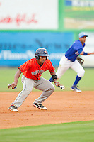 Cristian Moronta (2) of the Greeneville Astros takes off for third base against the Burlington Royals at Burlington Athletic Park on July 1, 2013 in Burlington, North Carolina.  The Astros defeated the Royals 8-1 in Game Two of a doubleheader.  (Brian Westerholt/Four Seam Images)