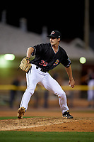 Batavia Muckdogs pitcher Andrew Nardi (36) during a NY-Penn League Semifinal Playoff game against the Lowell Spinners on September 4, 2019 at Dwyer Stadium in Batavia, New York.  Batavia defeated Lowell 4-1.  (Mike Janes/Four Seam Images)
