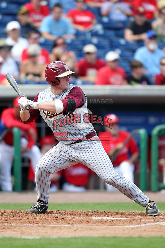 Florida State Seminoles catcher Stephen McGee #9 at bat during a scrimmage against the Philadelphia Phillies at Brighthouse Field on February 29, 2012 in Clearwater, Florida.  Philadelphia defeated Florida State 6-1.  (Mike Janes/Four Seam Images)