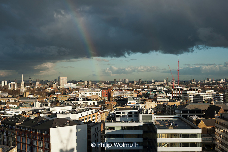 Rainbow over east London.  The area between Old Street roundabout and Stratford is being targeted by the Tech City Investment Organisation (TCIO), a government agency set up to encourage growth in the digital economy, web-based companies and IT start-ups.
