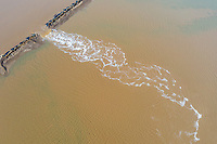 A broken sea wall spills sea water onto aquaculture farmland next to Bohai Bay, south of the city of Tianjin. The wall was damaged during a recent storm. As sea levels rise and storm surges increase, this is a continuing struggle for those who rely on farming land in this highly vulnerable region. 2019