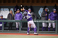 CHAPEL HILL, NC - FEBRUARY 19: Brian Rall #20 of High Point University catches a foul pop-up during a game between High Point and North Carolina at Boshamer Stadium on February 19, 2020 in Chapel Hill, North Carolina.