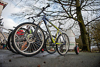 Saturday 10 January 2015<br /> Pictured:  The bikes hooked up to the Chariots <br /> Re: The World Mountain Bike Chariot Racing Championships take place at LLanwrtyd Wells, Wales, UK