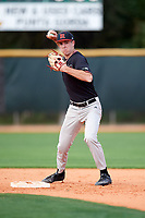 Rutgers Scarlet Knights second baseman Dan DiGeorgio (5) during warmups before a game against the Indiana Hoosiers on February 23, 2018 at North Charlotte Regional Park in Port Charlotte, Florida.  Indiana defeated Rutgers 7-6.  (Mike Janes/Four Seam Images)