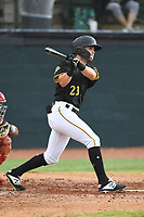 Chase Murray (23) of the Bristol Pirates follows through on his swing during a game against the Greeneville Reds at Boyce Cox Field on July 31, 2019 in Bristol, Virginia. The Pirates defeated the Reds 13-3. (Tracy Proffitt/Four Seam Images)