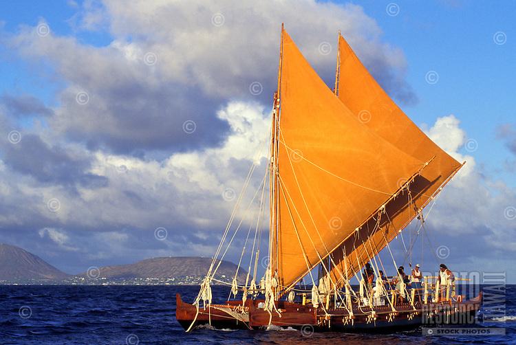 Hawaii loa, an authentic Hawaiian sailing canoe, the sister to the hokulea, at sunset
