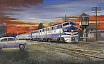"Missouri Pacific Railroad passenger train headed by diesel E unit  locomotives under an evening sunset sky. Oil on canvas, 16"" x 26""."