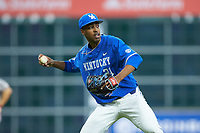Kentucky Wildcats starting pitcher Justin Lewis (21) makes a throw to first base against the Louisiana Ragin' Cajuns in game seven of the 2018 Shriners Hospitals for Children College Classic at Minute Maid Park on March 4, 2018 in Houston, Texas.  The Wildcats defeated the Ragin' Cajuns 10-4. (Brian Westerholt/Four Seam Images)