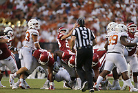 Arkansas Cam Little (29) kicks a field goal, Saturday, September 11, 2021 during the second quarter of a football game at Reynolds Razorback Stadium in Fayetteville. Check out nwaonline.com/210912Daily/ for today's photo gallery. <br /> (NWA Democrat-Gazette/Charlie Kaijo)