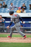 Lehigh Valley IronPigs shortstop Dean Anna (8) follows through on a swing during a game against the Syracuse Chiefs on May 20, 2018 at NBT Bank Stadium in Syracuse, New York.  Lehigh Valley defeated Syracuse 5-2.  (Mike Janes/Four Seam Images)