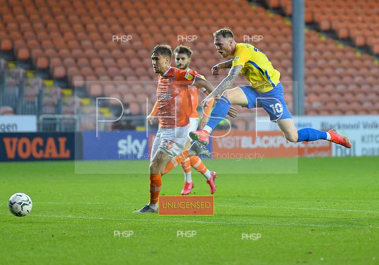 24/08/2021 Carabao Cup 2nd Round Blackpool v Sunderland <br /> <br /> Aiden O'Brien shot saved