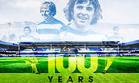 31st October 2020; The Kiyan Prince Foundation Stadium, London, England; English Football League Championship Football, Queen Park Rangers versus Cardiff City; Double exposure of Display in stands for the centenary of 100 years at Loftus Road stadium showing Stan Bowles