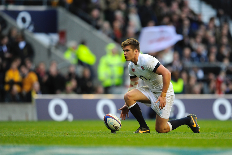 Owen Farrell of England prepares to take a kick during the QBE Autumn International match for the Cook Cup between England and Australia at Twickenham on Saturday 2nd November 2013 (Photo by Rob Munro)