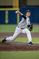 Michigan Wolverines pitcher Keaton Carratini (28) delivers a pitch to the plate during the NCAA baseball game against the Eastern Michigan Eagles on May 8, 2019 at Ray Fisher Stadium in Ann Arbor, Michigan. Michigan defeated Eastern Michigan 10-1. (Andrew Woolley/Four Seam Images)