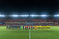 HOUSTON, TX - JUNE 13: The USWNT and Jamaica line up before a game between Jamaica and USWNT at BBVA Stadium on June 13, 2021 in Houston, Texas.
