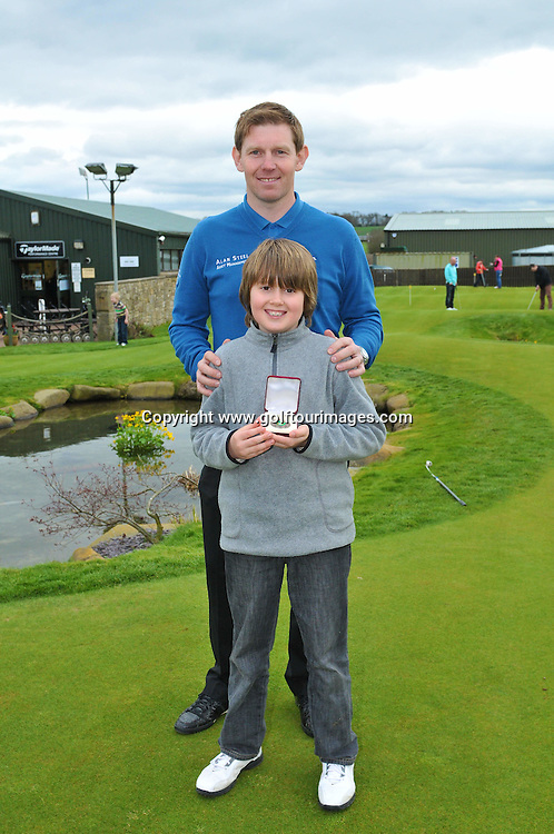 Scottish Golfer Stephen Gallacher was on hand at the opening day of the RACE TO DUNBAR golf tournament which forms part of the 'STEPHEN GALLACHER GOLF FOUNDATION'  which Stephen Launched last month with his wife Helen to promote junior golf in Scotland. The opening tournament was held at Kingsfield Golf Complex Linlithgow with 20 plus children taking part in four different categories: Photograph Joey Kelly, www.golftourimages.com 7th April 2012