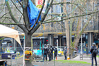 A general view as as officials try to end a protest against the building of the HS2 railway line at Euston Square Gardens on 27th January 2021