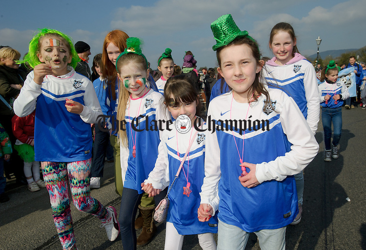 Lough Derg FC girls marching during the St Patrick's Day parade in Killaloe. Photograph by John Kelly.