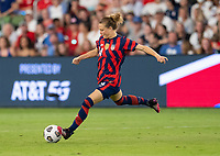 AUSTIN, TX - JUNE 16: Emily Sonnett #14 of the USWNT crosses the ball during a game between Nigeria and USWNT at Q2 Stadium on June 16, 2021 in Austin, Texas.