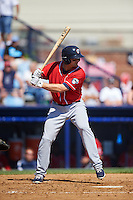 New Hampshire Fisher Cats first baseman Matt Dean (24) at bat during a game against the Reading Fightin Phils on June 6, 2016 at FirstEnergy Stadium in Reading, Pennsylvania.  Reading defeated New Hampshire 2-1.  (Mike Janes/Four Seam Images)