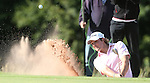 Peter Uihlein splashes out of the sand on the 17th during the 3rd round of ISPS Handa Wales Open 2013<br /> Celtic Manor Resort<br /> <br /> 31.08.13<br /> <br /> ©Steve Pope-Sportingwales