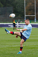 Charlie Gowling of London Scottish practices his kicks during the Greene King IPA Championship match between London Scottish Football Club and Ampthill RUFC at Richmond Athletic Ground, Richmond, United Kingdom on 26 October 2019. Photo by Carlton Myrie.