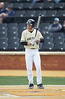 Michael Turconi (6) of the Wake Forest Demon Deacons steps up to the plate during the game against the Notre Dame Fighting Irish at David F. Couch Ballpark on March 10, 2019 in  Winston-Salem, North Carolina. The Demon Deacons defeated the Fighting Irish 7-4 in game one of a double-header.  (Brian Westerholt/Four Seam Images)