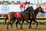 DEL MAR, CA  AUGUST 17: #1 Cambier Parc, ridden by John Velazquez, in the post parade of the Del Mar Oaks (Grade 1) on August 17, 2019 at Del Mar Thoroughbred Club in Del Mar, CA.  . (Photo by Casey Phillips/Eclipse Sportswire/CS\PDO1M)\PDO1