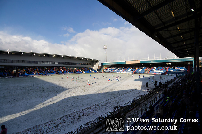 View of Boundary Park after the snow, from the The George Hill Main Stand. Oldham v Portsmouth League 1