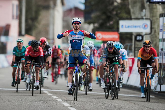 Niccolo Bonifazio (ITA) Total Direct Energie wins Stage 5 of the 78th edition of Paris-Nice 2020, running 227km from Gannat to La Cote-Saint-Andre, France. 12th March 2020.<br /> Picture: ASO/Fabien Boukla   Cyclefile<br /> All photos usage must carry mandatory copyright credit (© Cyclefile   ASO/Fabien Boukla)