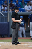 Home plate umpire Tyler White prior to the game between the Wilmington Blue Rocks and the Hudson Valley Renegades at Dutchess Stadium on July 27, 2021 in Wappingers Falls, New York. (Brian Westerholt/Four Seam Images)