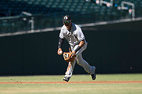Glendale Desert Dogs shortstop Thairo Estrada (90), of the New York Yankees organization, fields a ground ball during an Arizona Fall League game against the Mesa Solar Sox at Sloan Park on October 27, 2018 in Mesa, Arizona. Glendale defeated Mesa 7-6. (Zachary Lucy/Four Seam Images)