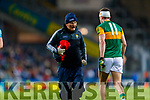 Dr Michael Finnerty (Medical) with Seán O'Shea, Kerry during the Allianz Football League Division 1 Round 1 match between Dublin and Kerry at Croke Park on Saturday.