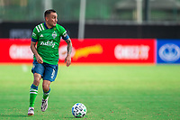 LAKE BUENA VISTA, FL - JULY 14: Miguel Ibarra #11 of the Seattle Sounders dribbles the ball during a game between Seattle Sounders FC and Chicago Fire at Wide World of Sports on July 14, 2020 in Lake Buena Vista, Florida.