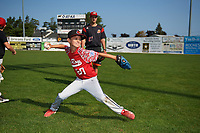 Batavia Muckdogs pitcher Ryan McKay (27) watches over the pitching station during the teams youth baseball clinic on August 30, 2017 at Dwyer Stadium in Batavia, New York.  (Mike Janes/Four Seam Images)