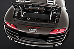 High angle engine detail of a 2010 - 2012 Audi R8 Spyder v10 2 Door Convertible.