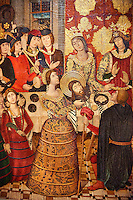 Gothic Catalan painted panel of the Banquet of Herod (Banquet d'Herodes) by Pere Garcia de Benvarri of Barcelona, Circa 1470, tempera and gold leaf on wood, from the church of Sant Joan (John) del Mercat de Lleida, Spain, National Museum of Catalan Art, Barcelona, Spain, inv no: MNAC  64060. <br /> <br /> Pere Garcia, one of the most outstanding representatives of the Aragonese school of influence of flamenco, works for several Aragonese and Catalan centres. From the church of Sant Joan del Mercat in Lleida there are some tables of the old high altarpiece, a large piece of furniture dedicated to Bautista, partially preserved and one of the narrative chambers, the Banquet of Herod. This scene, in which Salome presents the head of St. John to Herod. <br /> <br /> The styling of the scene allows us to imagine how a festive banquet took place in a noble Catalan house in the second half of the fifteenth century.<br /> <br /> SPANISH<br /> <br /> Pere Garcia, uno de los representantes mas destacados de la escuela gotica aragonesa de influence flamenca, trabajo para varios centros aragoneses y catalanes. De la iglesia de Sant Joan del Mercat de Lleida proviennen algunas tablas del antiguo retablo mayor, un mueble de grandes dimensiones dedicado a Bautista, conservado parcialmente y del que se expone uno de los compartientos narrativos, el Banquet de Herodes. Esta escena, en la que Salome presenta la cabeza de san juan a Herodidias y Herodes, permite imaginar como transcurria un banquete festivo en una casa noble en la esgunda mitad del siglo XV