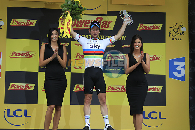 World Champion Mark Cavendish (GBR) Sky Procycling wins Stage 2 of the 99th edition of the Tour de France 2012, running 207.5km from Vise to Tournai, Belgium. 2nd July 2012.<br /> (Photo by Eoin Clarke/NEWSFILE)