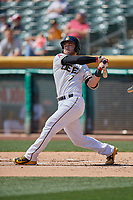 Joe Hudson (7) of the Salt Lake Bees follows through on a swing during a game against the Fresno Grizzlies at Smith's Ballpark on September 3, 2018 in Salt Lake City, Utah. The Grizzlies defeated the Bees 7-6. (Stephen Smith/Four Seam Images)