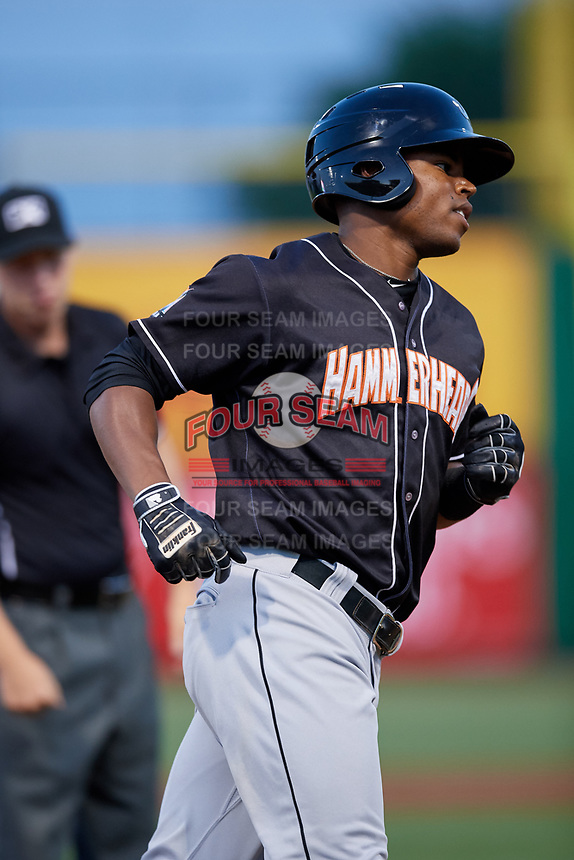 Jupiter Hammerheads right fielder Stone Garrett (11) rounds the bases after hitting a third inning home run during a game against the Clearwater Threshers on April 12, 2018 at Spectrum Field in Clearwater, Florida.  Jupiter defeated Clearwater 8-4.  (Mike Janes/Four Seam Images)