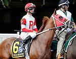 ARLINGTON HEIGHTS, IL - AUGUST 13: Oscar Nominated #6, ridden by Corey Lanerie, during the post parade before the Secretariat Stakes at Arlington International Racecourse on August 13, 2016 in Arlington Heights, Illinois. (Photo by Jon Durr/Eclipse Sportswire/Getty Images)