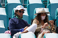 3rd April 2021; Miami Gardens, Miami, Florida, USA;   Singer Marc Anthony watches from the stands during the women's finals of the Miami Open on April 3, 2021, at Hard Rock Stadium in Miami Gardens, Florida.