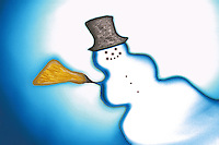 Snowman with hat and broom. Winter Christmas. Computer image.
