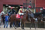 March 14, 2020: Basin (3) with jockey Javier Castellano aboard before the Rebel Stakes at Oaklawn Racing Casino Resort in Hot Springs, Arkansas on March 14, 2020. Justin Manning/Eclipse Sportswire/CSM