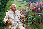 Laurie Lee author in the garden of his home Slad near Stroud Gloucestershire 1994, 1990s,