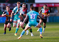17th April 2021; Twickenham Stoop, London, England; English Premiership Rugby, Harlequins versus Worcester Warriors; Scott Baldwin of Harlequins has Hougaard of Worcester warriors to got past in his attacking run