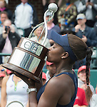 April  10, 2016:  Sloane Stephens (USA) wins the final, a trophy, and a car against Elena Vesnina (RUS) 7-6, 6-2, at the Volvo Car Open being played at Family Circle Tennis Center in Charleston, South Carolina.  ©Leslie Billman/Tennisclix/Cal Sport Media