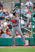 Lehigh Valley IronPigs shortstop Danny Espinosa (3) at bat during a game against the Rochester Red Wings on June 29, 2018 at Frontier Field in Rochester, New York.  Lehigh Valley defeated Rochester 2-1.  (Mike Janes/Four Seam Images)